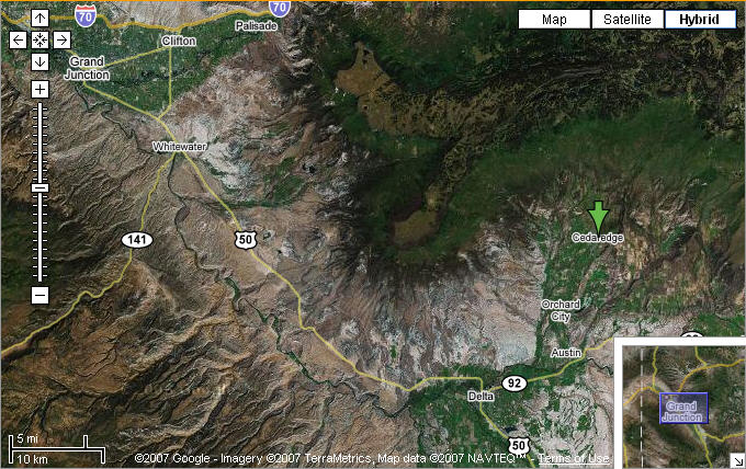 Map of Western Colorado and Cedaredge, CO courtesy of Google Maps.