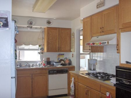 Bright kitchen with plenty of cabinet space, windows and back yard access.